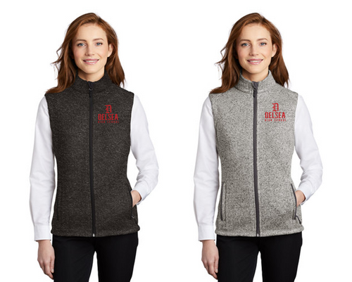 Ladies Sweater Fleece Vest - Delsea Staff