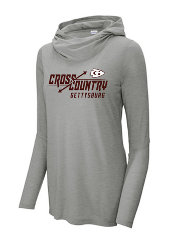 Ladies Tri-Blend Wicking Long Sleeve Hoodie - Gettysburg XC