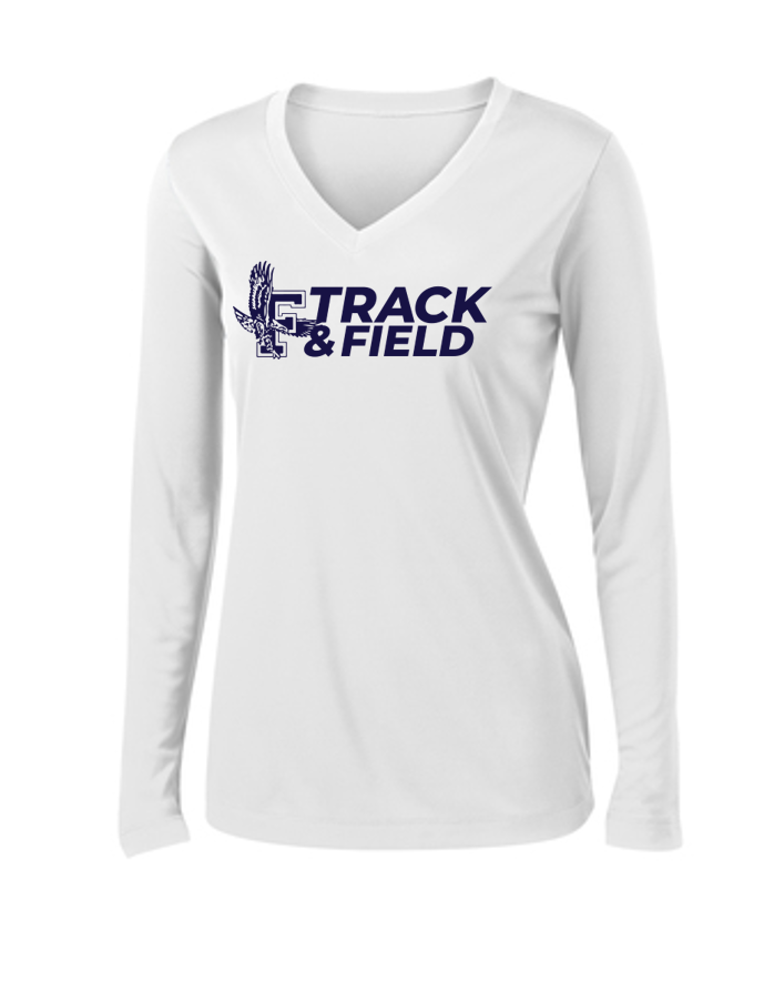 Ladies V-Neck Performance Long Sleeve - Framingham Track