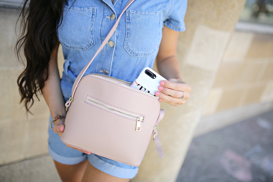 Venice Cross Body Bag in Nude/Blush Pink