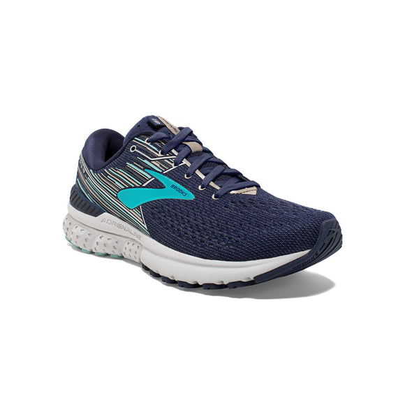 Brooks Womens Adrenaline GTS 19 Running Shoe - Navy/Aqua/Tan - B - 8.0 - Zenith Solutions