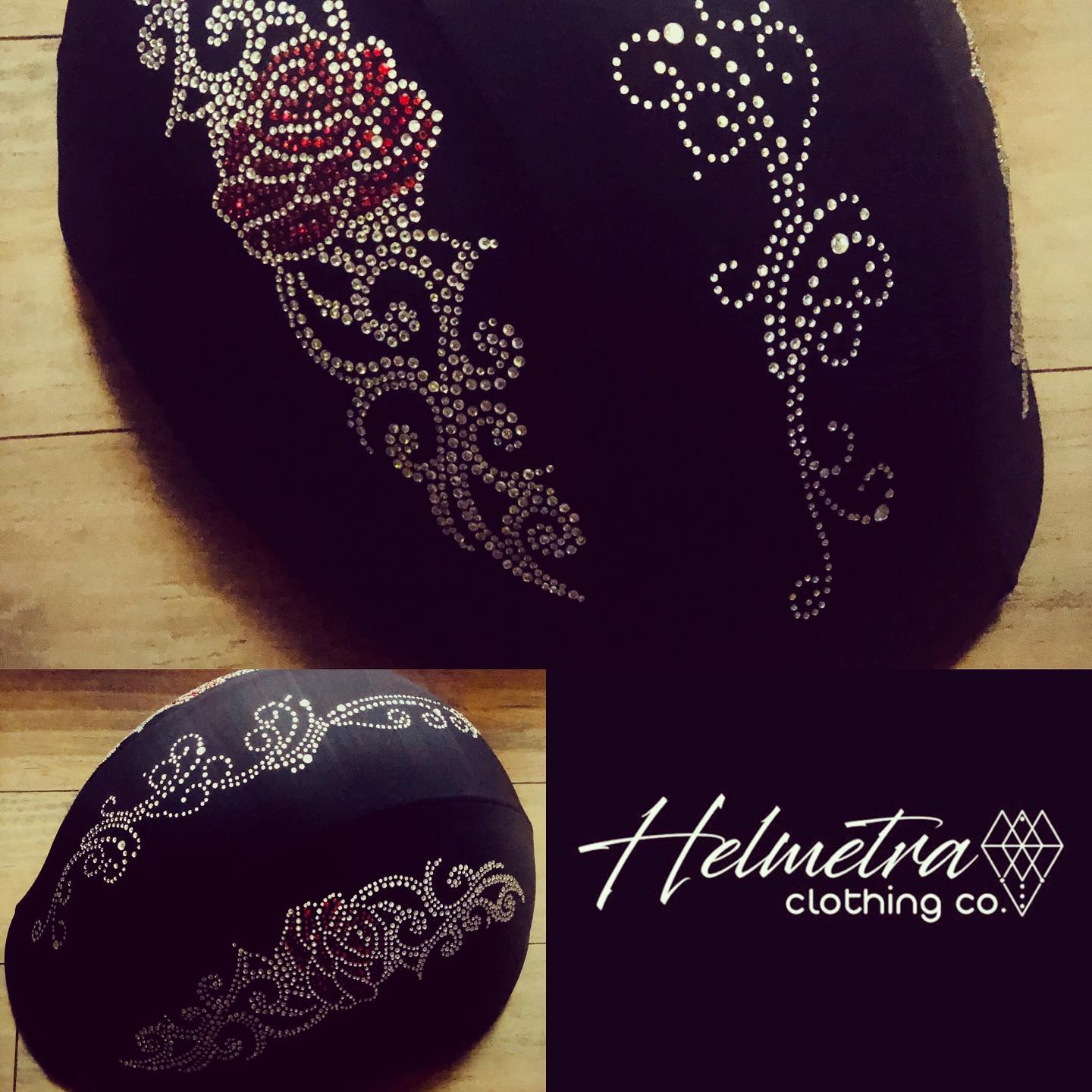 Helmetra Red Rose Decoration Custom Helmet Cover