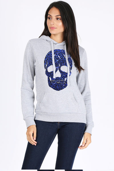 Blue Leopard Skull Pull Over Sweatshirt