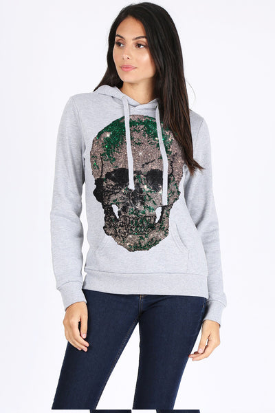 Green Skull Pull Over Sweatshirt