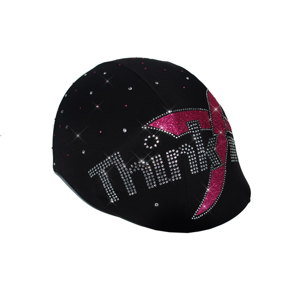 Think Pink Glitter Ribbon Breast Cancer Awareness Month Custom Helmet Cover
