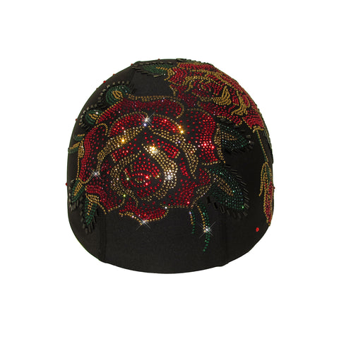 Helmetra Red Gold Roses Custom Helmet Cover