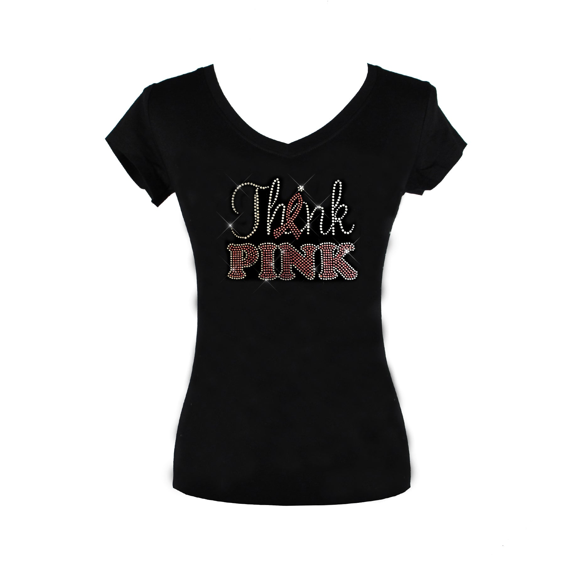 Think Pink Rhinestone Breast Cancer Awareness Month T-shirt