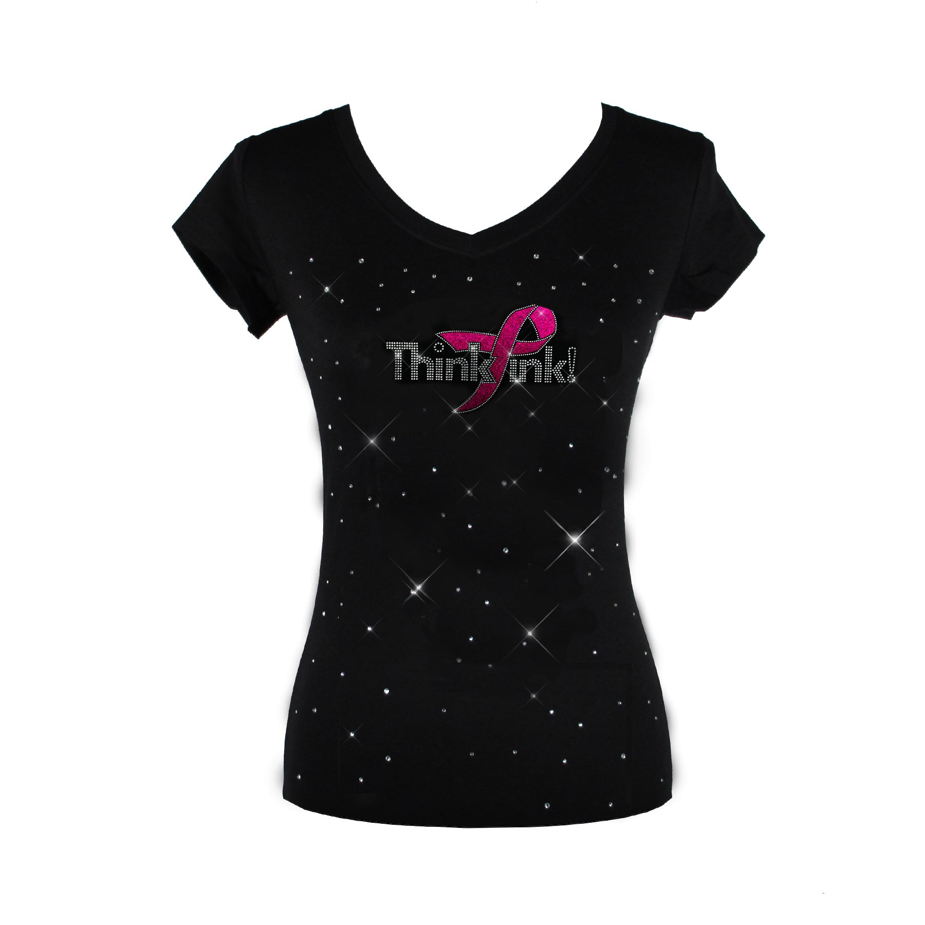 Think Pink Glitter Ribbon Breast Cancer Awareness Month T-shirt