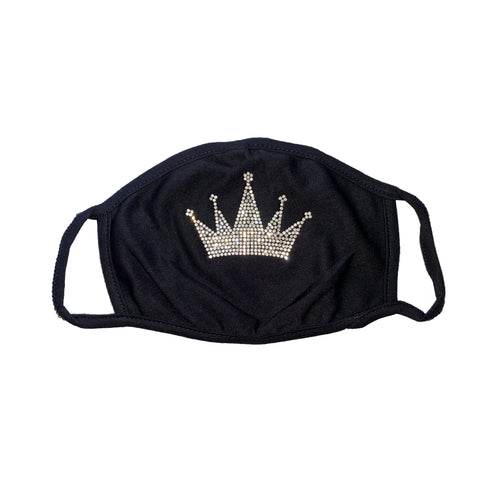 Crown black washable/reusable face mask