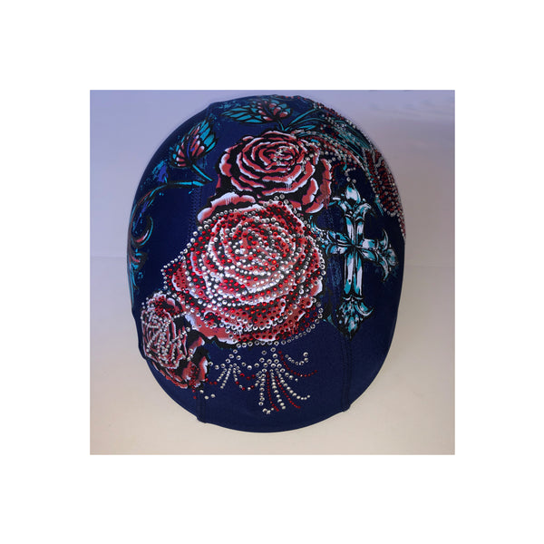 Red roses blue custom helmet cover