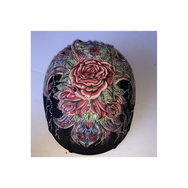 Copy of Red roses blue custom helmet cover