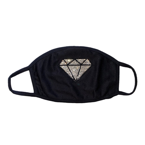 Diamond black washable/reusable face mask