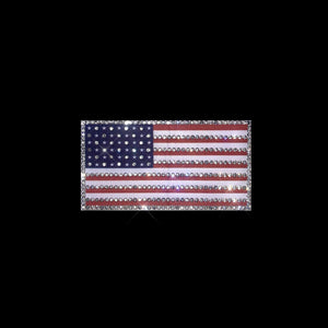 American Flag Iron on Patch with Rhinestones Heat Transfer