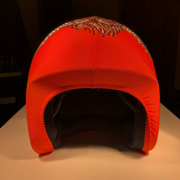 Helmetra  Orange Quarter Helmet Cover with Tiger