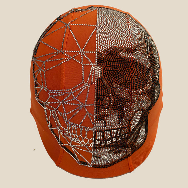 Silver half skull orange custom helmet cover