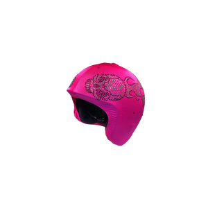 Helmetra  Pink Quarter Helmet Cover with Skulls