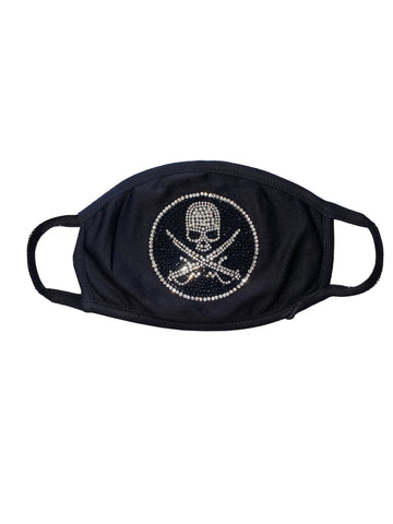Pirate skull black washable/reusable face mask