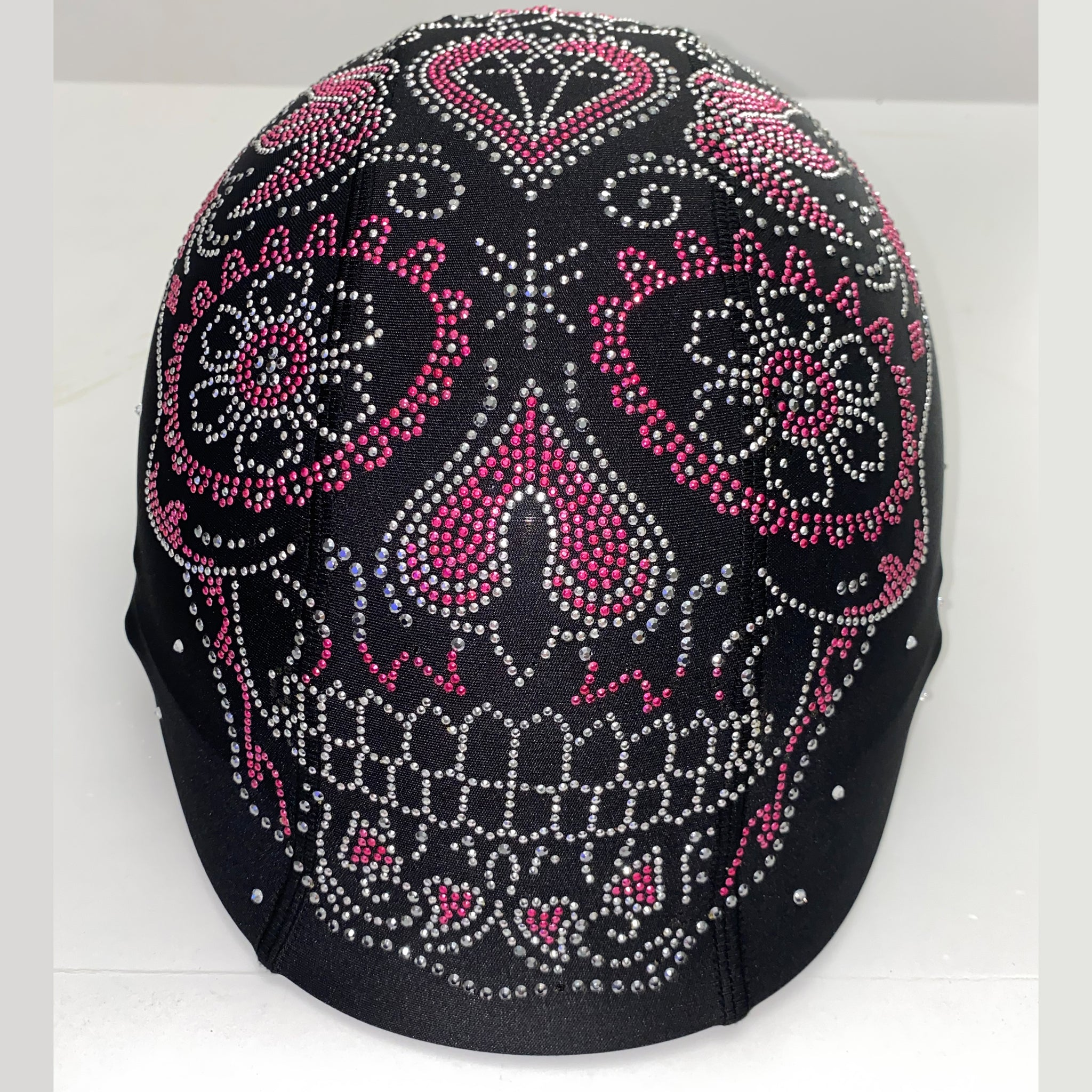 Pink sugar skull custom helmet cover