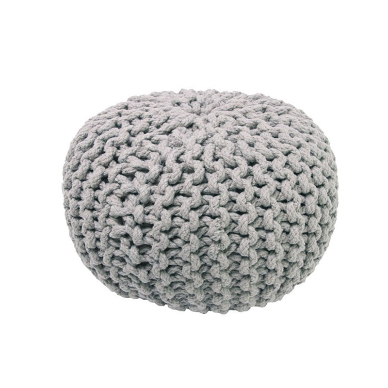 knitted pouf for kids grey