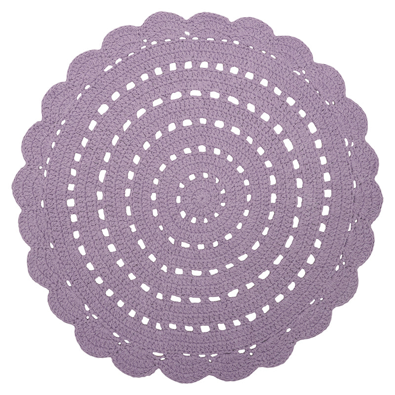 tapis rond crochet for fille coloris lila