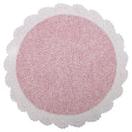 round crochet natural & pink rug for baby girl room