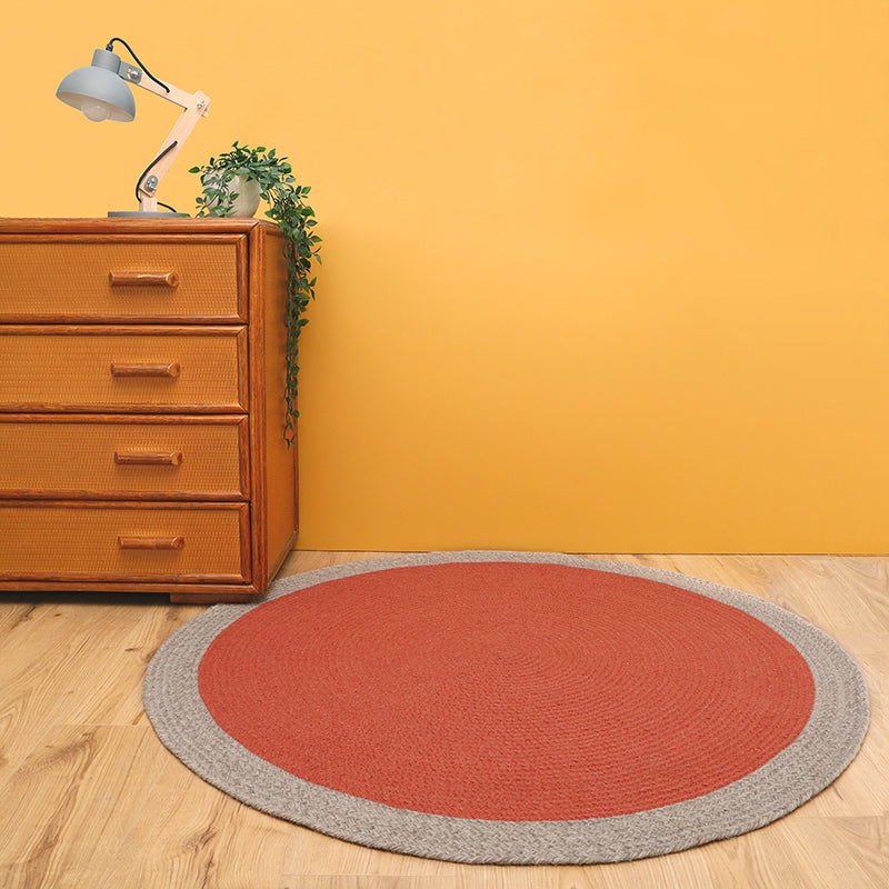 round wool rug rust color for kids room
