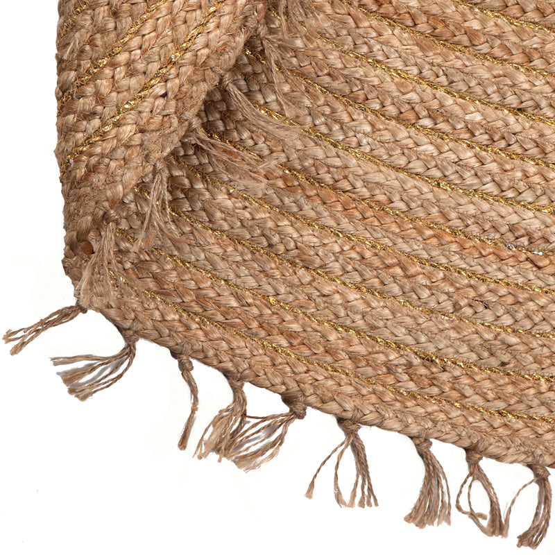 round jute rug with fringes
