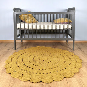 mustard round crochet rug for kids room