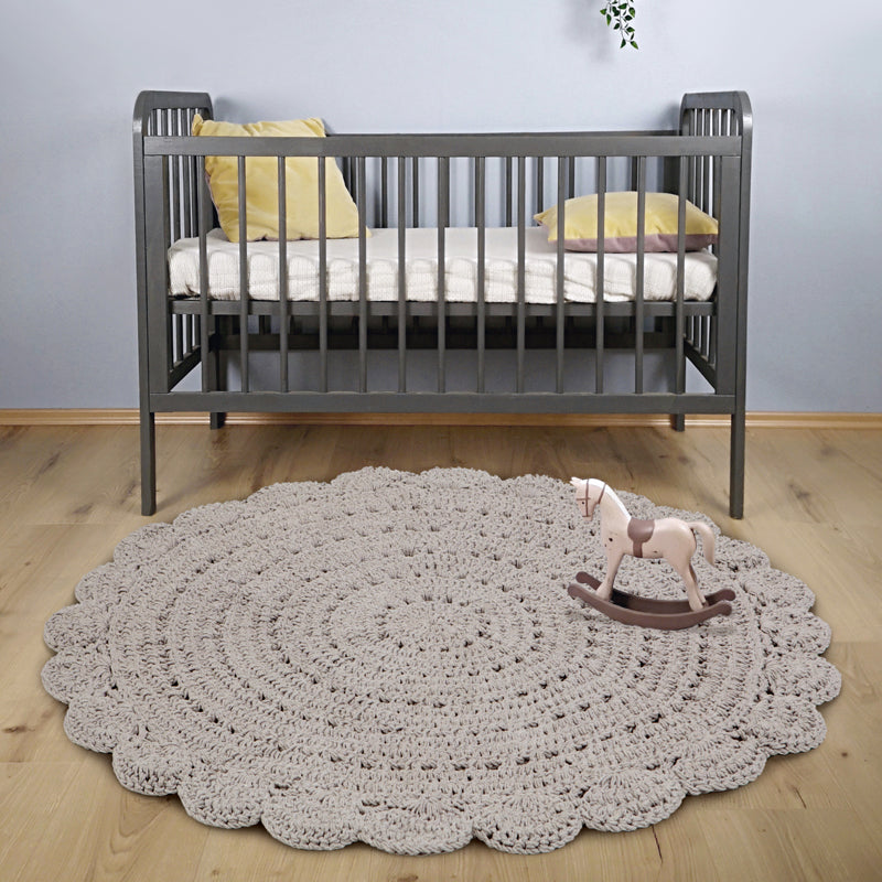 kids round crochet rug light grey