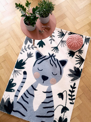 designer rug for kids room blue cat