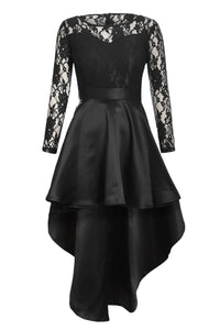 Black Long Sleeve Lace High Low Satin Dress - MSCOOCO