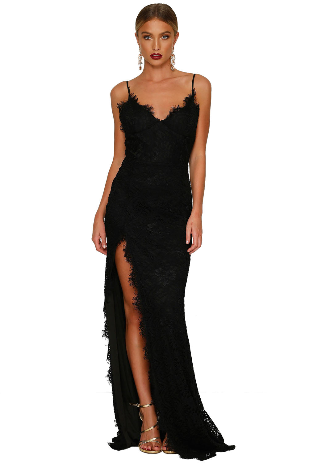 Black Chic Lace Maxi Dress - MSCOOCO