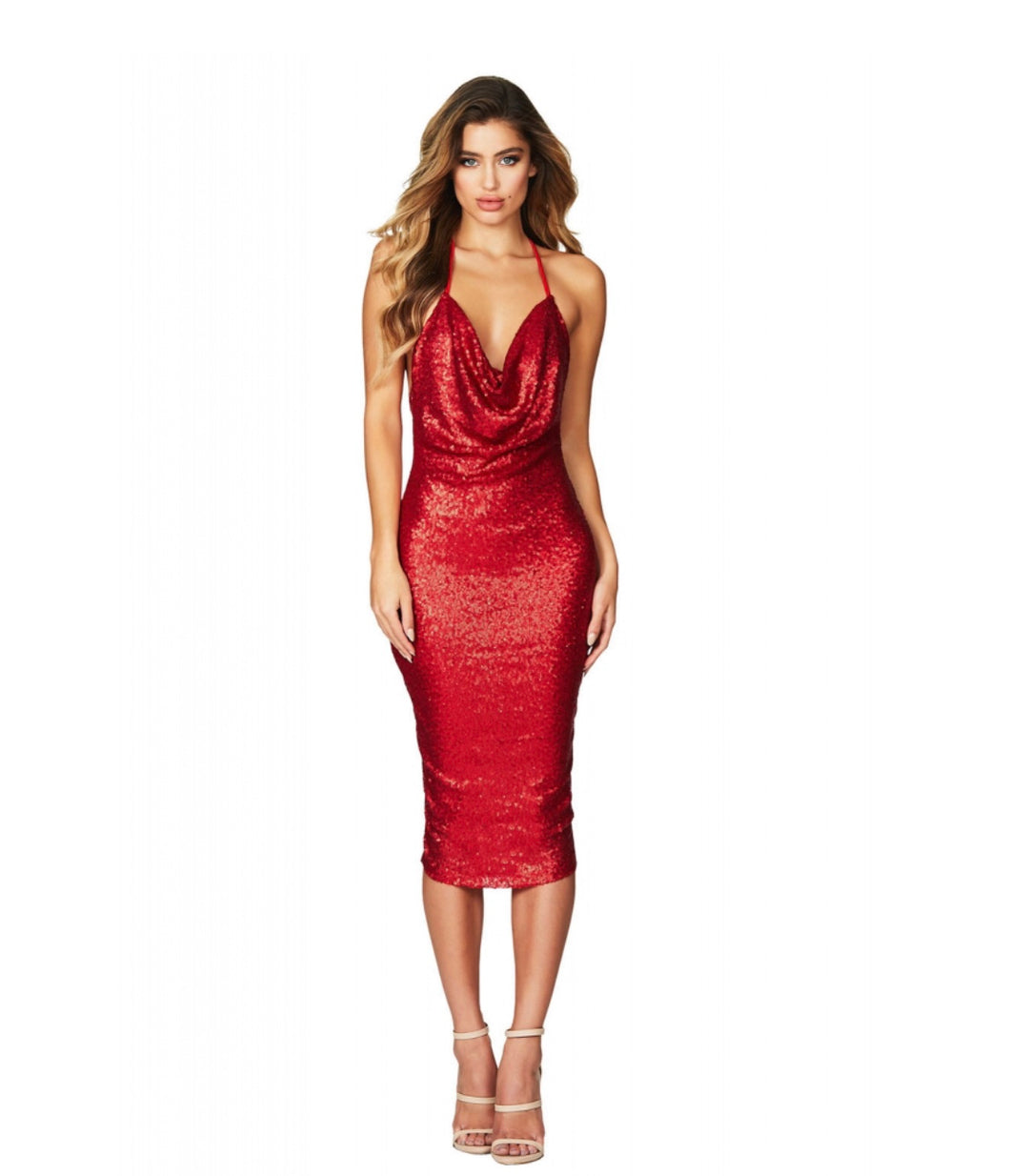 Red Seductive Sequin Midi Club Dress - MSCOOCO