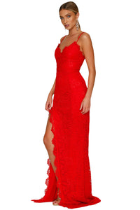 Red Heartbreaker  Lace Maxi Dress - MSCOOCO