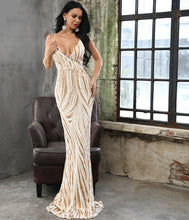 Load image into Gallery viewer, Graceful V Neck Sequin Maxi Dress - MSCOOCO