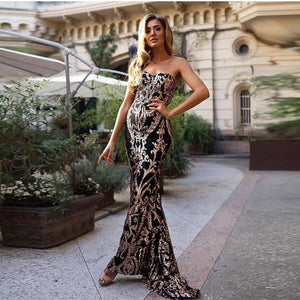 Gold Shine Strapless Sequin Maxi Dress - MSCOOCO