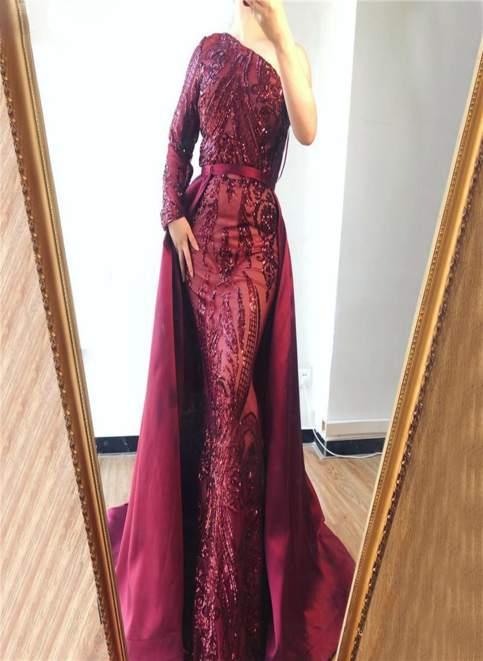 Delara Red Wine Sequined Gown