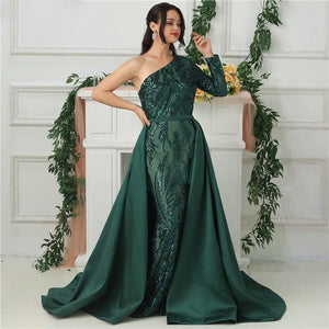 Delara Green Sequined Gown
