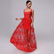 Load image into Gallery viewer, Mariella Red  3D Floral Embellished Gown - MSCOOCO