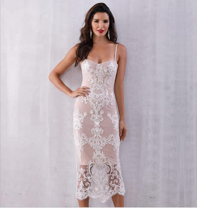 Verano Lace Spaghetti Strap Bodycon Dress - MSCOOCO