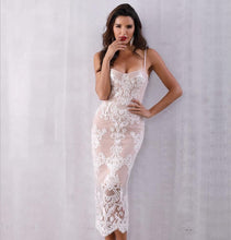 Load image into Gallery viewer, Verano Lace Spaghetti Strap Bodycon Dress - MSCOOCO