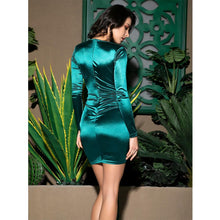 Load image into Gallery viewer, Shirring V-Neck Bodycon Mini Dress - MSCOOCO