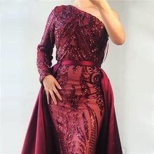 Load image into Gallery viewer, Delara Red Wine Sequined Gown