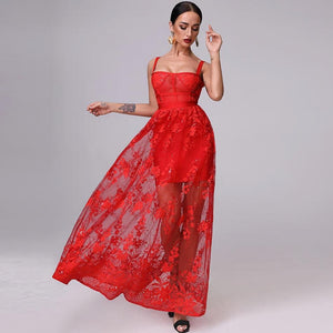 Mariella Red  3D Floral Embellished Gown - MSCOOCO