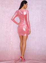 Load image into Gallery viewer, Pink Deep V-Neck Pleated Ribbon Sparkling Dress - MSCOOCO