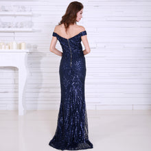 Load image into Gallery viewer, Off Shoulder Sequin Maxi Dress - MSCOOCO