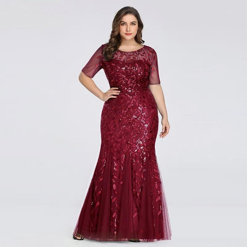 Appliques Mermaid Sequined Lace Long Dress - MSCOOCO