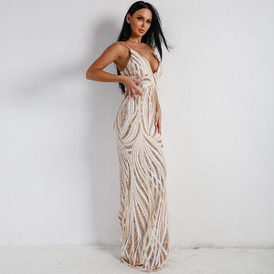 Graceful V Neck Sequin Maxi Dress - MSCOOCO