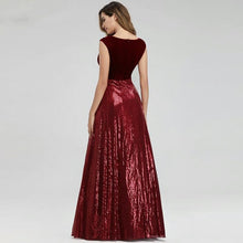 Load image into Gallery viewer, Isidora Burgundy Elegant Beading Sequin Gown - MSCOOCO
