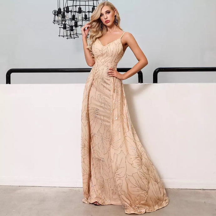 Gold Elegant Backless Glitter Maxi dress - MSCOOCO